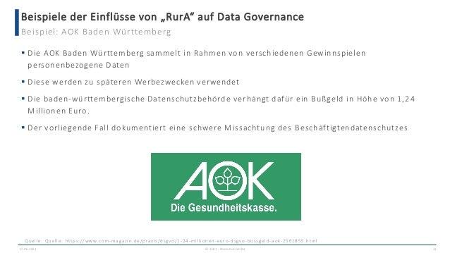 """Beispiele der Einflüsse von """"RurA"""" auf Data Governance 17.06.2021 © 2021 - IBsolution GmbH 23 Beispiel: AOK Baden Württemb..."""