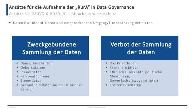 """Ansätze für die Aufnahme der """"RurA"""" in Data Governance 17.06.2021 © 2021 - IBsolution GmbH 30 Ansätze für DSGVO & BDSG (3)..."""