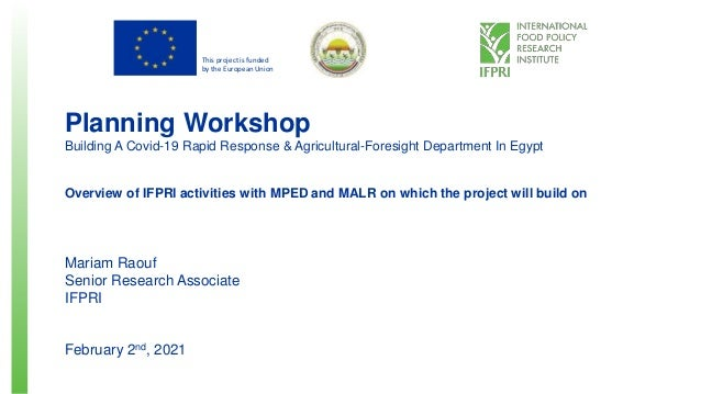 This project is funded by the European Union Planning Workshop Building A Covid-19 Rapid Response & Agricultural-Foresight...