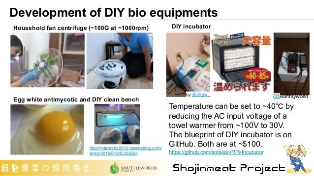 Development of DIY bio equipments DIY incubator Temperature can be set to ~40℃ by reducing the AC input voltage of a towel...