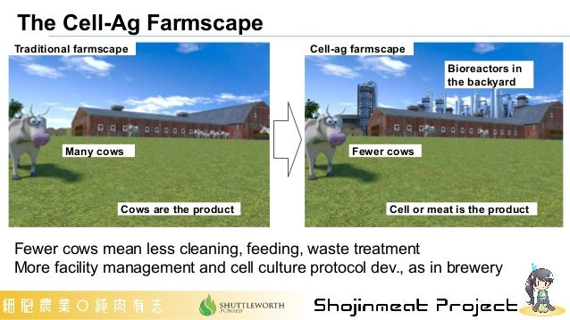 Fewer cows Bioreactors in the backyard Many cows Cows are the product Cell or meat is the product Traditional farmscape Ce...