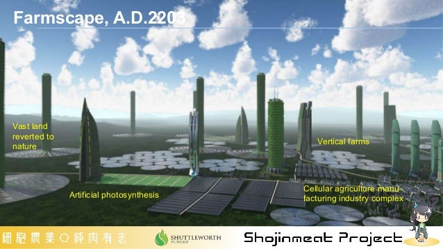 Farmscape, A.D.2203 Vertical farms Vast land reverted to nature Artificial photosynthesis Cellular agriculture manu- factu...