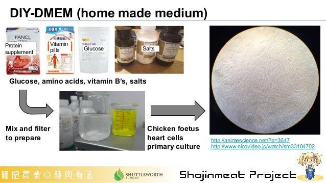 DIY-DMEM (home made medium) http://animescience.net/?p=3647 http://www.nicovideo.jp/watch/sm33104702 Glucose, amino acids,...