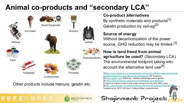 """Animal co-products and """"secondary LCA"""" Co-product alternatives By synthetic materials and products[1] Gelatin production b..."""