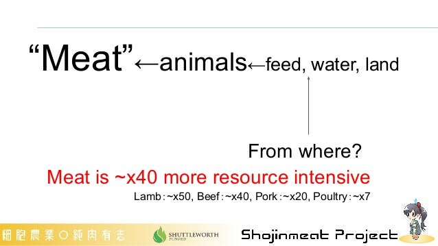 """From where? Meat is ~x40 more resource intensive Lamb:~x50, Beef:~x40, Pork:~x20, Poultry:~x7 """"Meat""""←animals←feed, water, ..."""