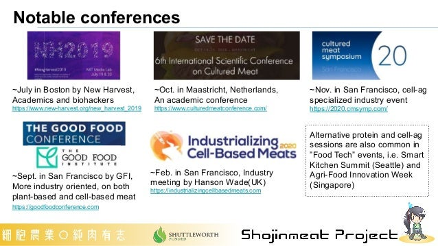 """Notable conferences Alternative protein and cell-ag sessions are also common in """"Food Tech"""" events, i.e. Smart Kitchen Sum..."""