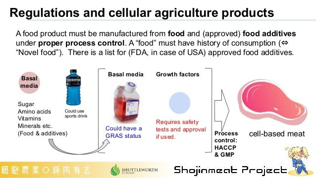 Regulations and cellular agriculture products A food product must be manufactured from food and (approved) food additives ...