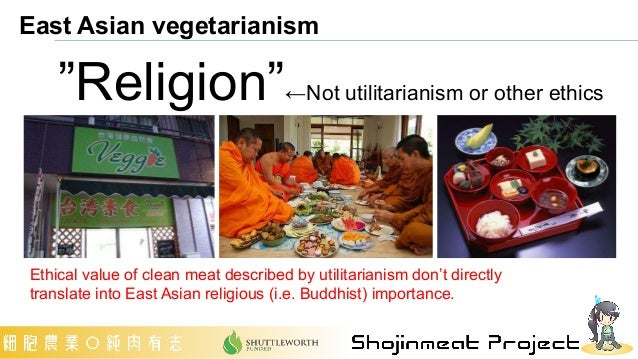 """East Asian vegetarianism """"Religion""""←Not utilitarianism or other ethics Ethical value of clean meat described by utilitaria..."""