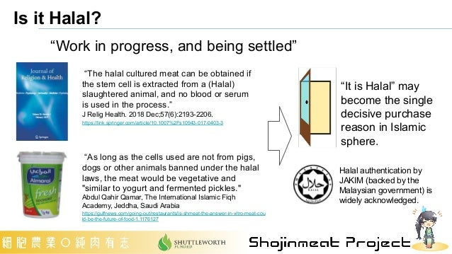 """Is it Halal? """"The halal cultured meat can be obtained if the stem cell is extracted from a (Halal) slaughtered animal, and..."""