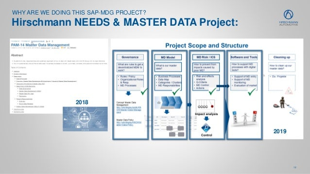 12 WHY ARE WE DOING THIS SAP-MDG PROJECT? Hirschmann NEEDS & MASTER DATA Project: 2019 2018
