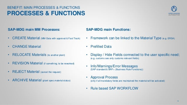 13 BENEFIT: MAIN PROCESSES & FUNCTIONS PROCESSES & FUNCTIONS SAP-MDG main MM Processes: • CREATE Material (MM-Data with ap...