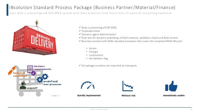 IBsolution Standard Process Package (Business Partner/Material/Finance) © 2021 - IBsolution GmbH 18 Start with a preconfig...