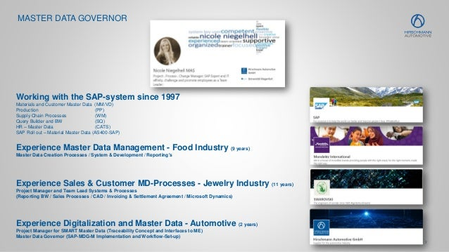 7 MASTER DATA GOVERNOR Working with the SAP-system since 1997 Materials and Customer Master Data (MM/VD) Production (PP) S...