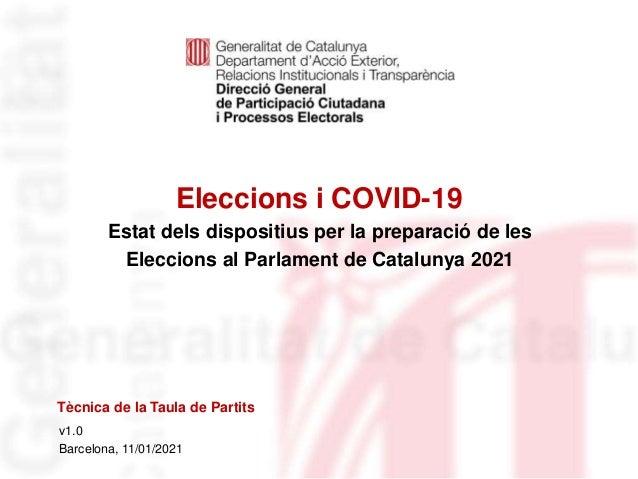 Eleccions i COVID-19 Identificació del departament o organisme v1.0 Barcelona, 11/01/2021 Estat dels dispositius per la pr...