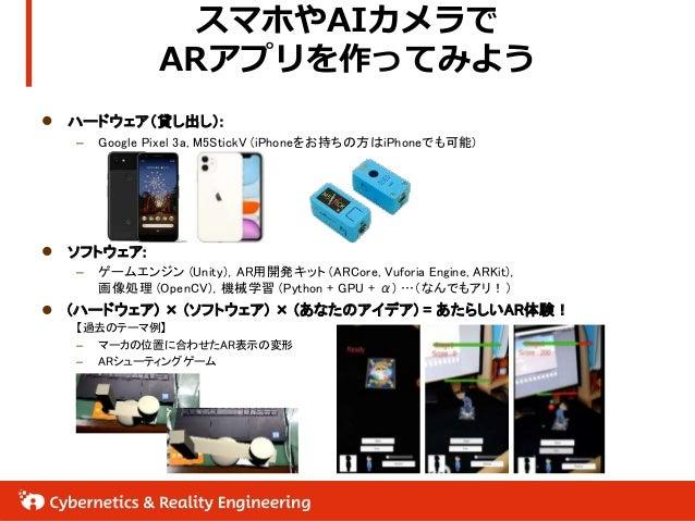 スマホやAIカメラで ARアプリを作ってみよう  ハードウェア(貸し出し): – Google Pixel 3a, M5StickV (iPhoneをお持ちの方はiPhoneでも可能)  ソフトウェア: – ゲームエンジン (Unity),...
