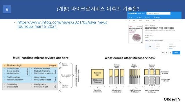 • https://www.infoq.com/news/2021/03/java-news- roundup-mar15-2021 OKdevTV (개발) 마이크로서비스 이후의 기술은? 6