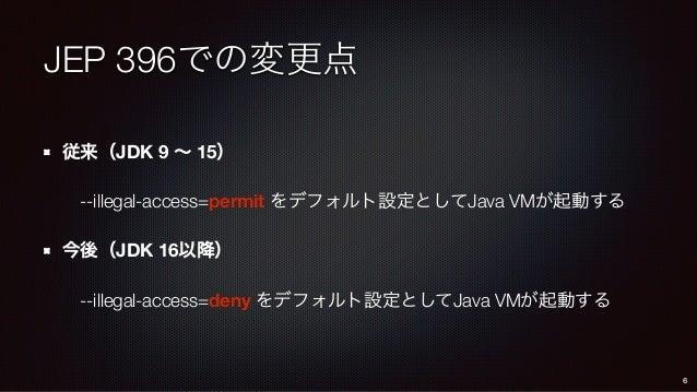 JEP 396での変更点 従来(JDK 9 ∼ 15) --illegal-access=permit をデフォルト設定としてJava VMが起動する 今後(JDK 16以降) --illegal-access=deny をデフォルト設定として...