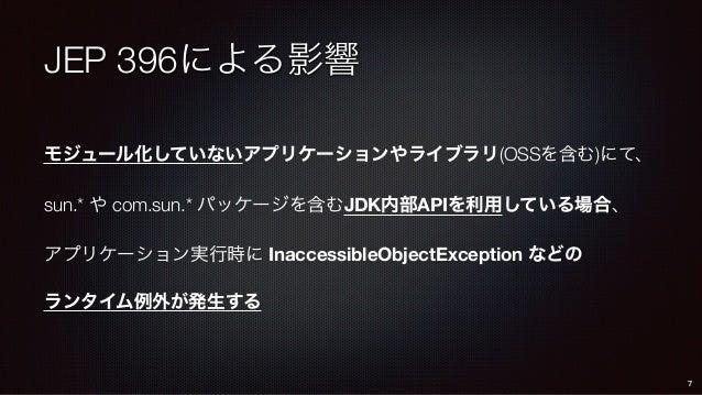 JEP 396による影響 モジュール化していないアプリケーションやライブラリ(OSSを含む)にて、 sun.* や com.sun.* パッケージを含むJDK内部APIを利用している場合、 アプリケーション実行時に InaccessibleOb...