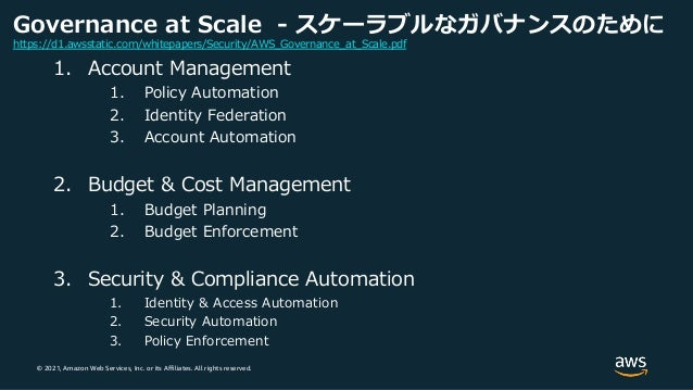 © 2021, Amazon Web Services, Inc. or its Affiliates. All rights reserved. Governance at Scale - スケーラブルなガバナンスのために 1. Accoun...