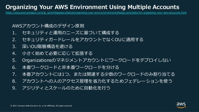 © 2021, Amazon Web Services, Inc. or its Affiliates. All rights reserved. Organizing Your AWS Environment Using Multiple A...