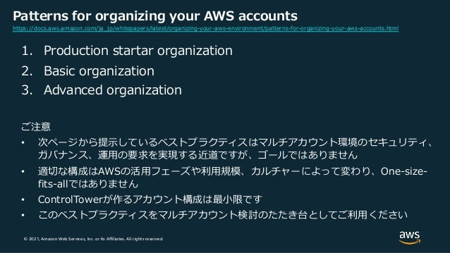 © 2021, Amazon Web Services, Inc. or its Affiliates. All rights reserved. Patterns for organizing your AWS accounts 1. Pro...