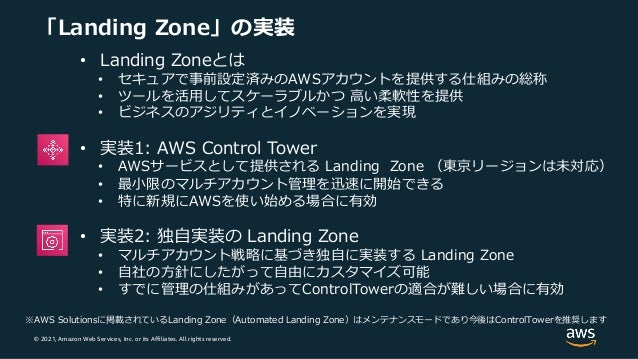 © 2021, Amazon Web Services, Inc. or its Affiliates. All rights reserved. 「Landing Zone」の実装 • Landing Zoneとは • セキュアで事前設定済み...