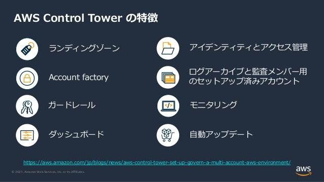 © 2021, Amazon Web Services, Inc. or its Affiliates. AWS Control Tower の特徴 ダッシュボード ランディングゾーン ガードレール Account factory アイデンティ...