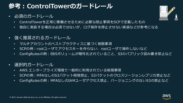 © 2021, Amazon Web Services, Inc. or its Affiliates. All rights reserved. 参考︓ControlTowerのガードレール • 必須のガードレール • ControlTowe...