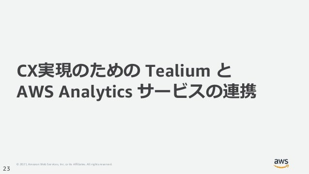 © 2021, Amazon Web Services, Inc. or its Affiliates. All rights reserved. 23 CX実現のための Tealium と AWS Analytics サービスの連携