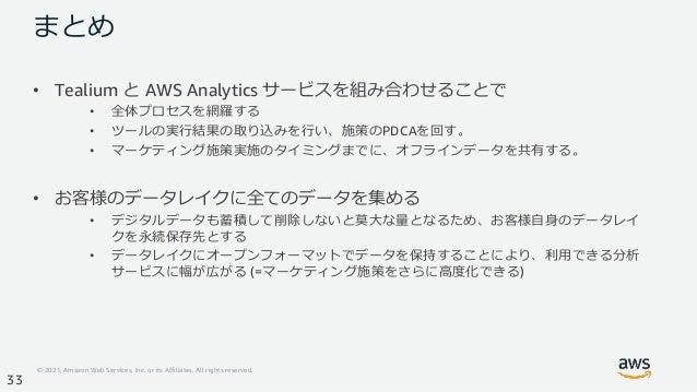 © 2021, Amazon Web Services, Inc. or its Affiliates. All rights reserved. 33 まとめ • Tealium と AWS Analytics サービスを組み合わせることで ...