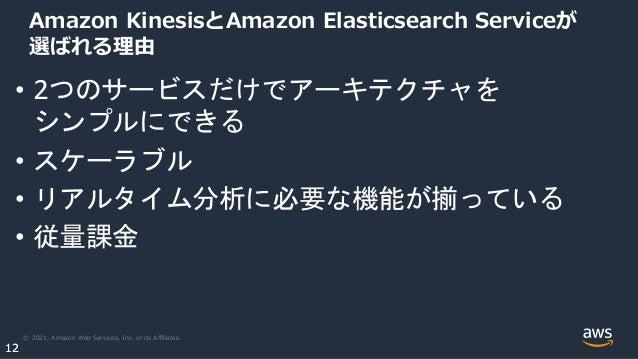 © 2021, Amazon Web Services, Inc. or its Affiliates. 12 12 Amazon KinesisとAmazon Elasticsearch Serviceが 選ばれる理由 • 2つのサービスだけでア...