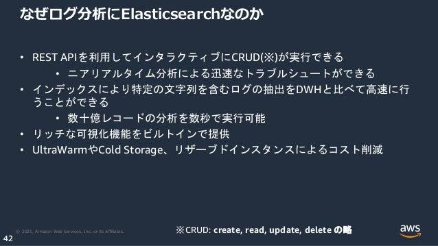 © 2021, Amazon Web Services, Inc. or its Affiliates. 42 42 なぜログ分析にElasticsearchなのか • REST APIを利用してインタラクティブにCRUD(※)が実行できる • ニ...