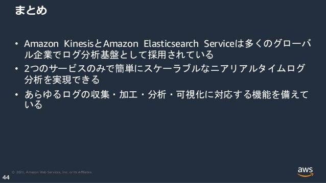 © 2021, Amazon Web Services, Inc. or its Affiliates. 44 44 まとめ • Amazon KinesisとAmazon Elasticsearch Serviceは多くのグローバ ル企業でログ分...