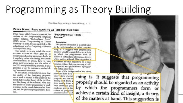 TECHNICAL LEADERSHIP Programming as Theory Building 1985