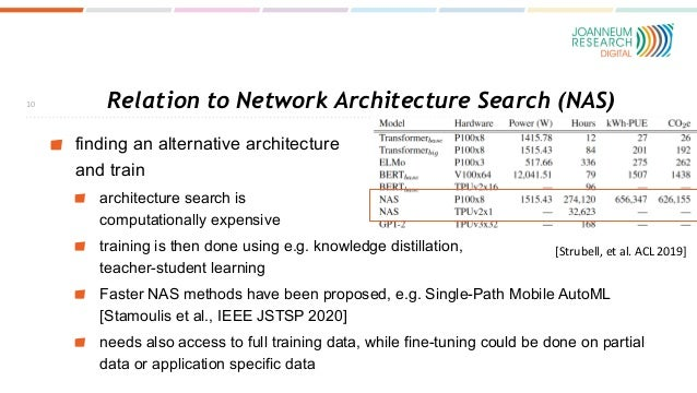 Relation to Network Architecture Search (NAS) finding an alternative architecture and train architecture search is computa...