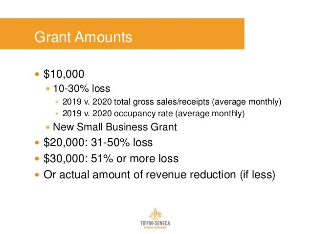 Grant Amounts  $10,000  10-30% loss  2019 v. 2020 total gross sales/receipts (average monthly)  2019 v. 2020 occupancy...