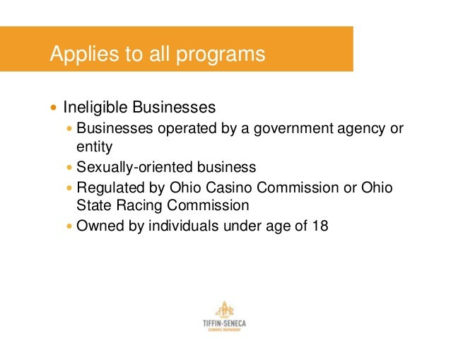 Applies to all programs  Ineligible Businesses  Businesses operated by a government agency or entity  Sexually-oriented...