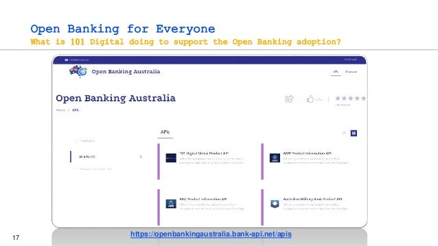 17 Open Banking for Everyone What is 101 Digital doing to support the Open Banking adoption? https://openbankingaustralia....