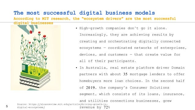 """5 The most successful digital business models According to MIT research, the """"ecosystem drivers"""" are the most successful d..."""