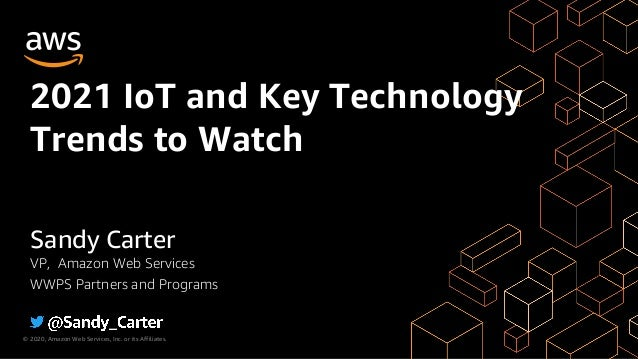© 2020, Amazon Web Services, Inc. or its Affiliates. 2021 IoT and Key Technology Trends to Watch Sandy Carter VP, Amazon W...