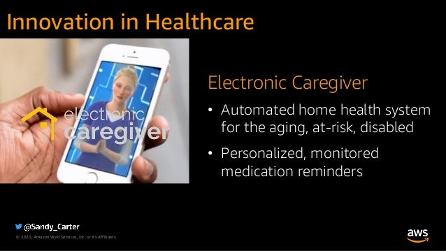 © 2020, Amazon Web Services, Inc. or its Affiliates. Electronic Caregiver • Automated home health system for the aging, at...