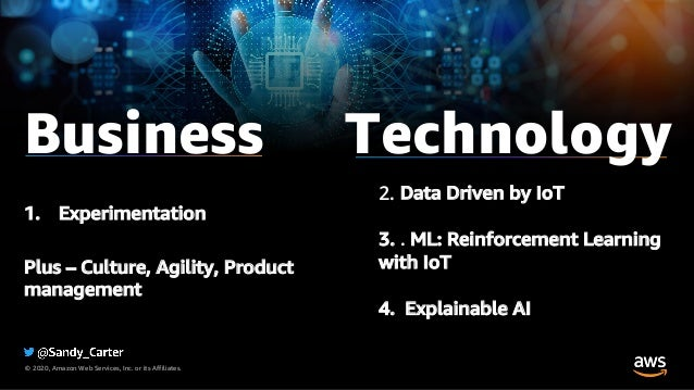 © 2020, Amazon Web Services, Inc. or its Affiliates. 2. Data Driven by IoT 3. . ML: Reinforcement Learning with IoT 4. Exp...