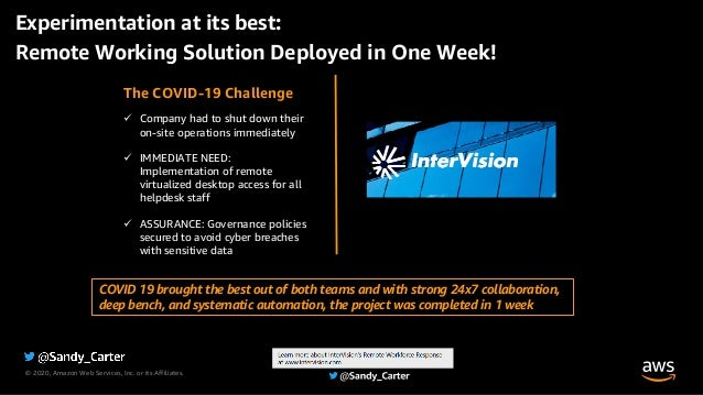 © 2020, Amazon Web Services, Inc. or its Affiliates. The COVID-19 Challenge ü Company had to shut down their on-site opera...