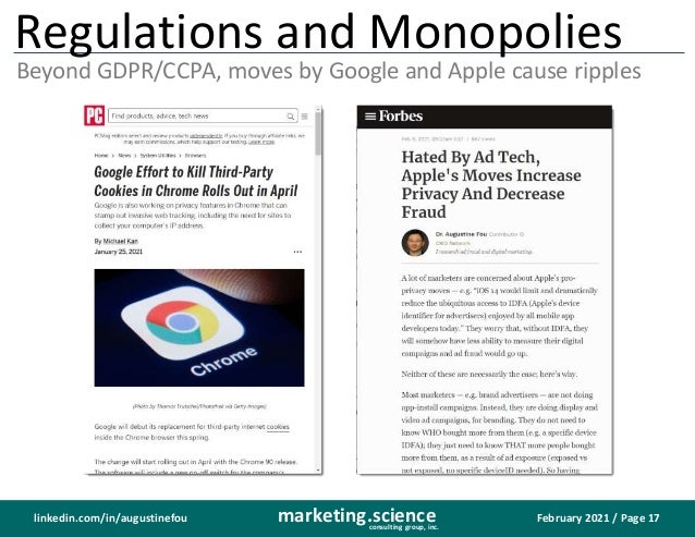 February 2021 / Page 17 marketing.science consulting group, inc. linkedin.com/in/augustinefou Regulations and Monopolies B...