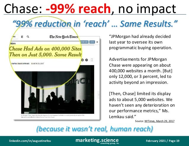 February 2021 / Page 19 marketing.science consulting group, inc. linkedin.com/in/augustinefou Chase: -99% reach, no impact...
