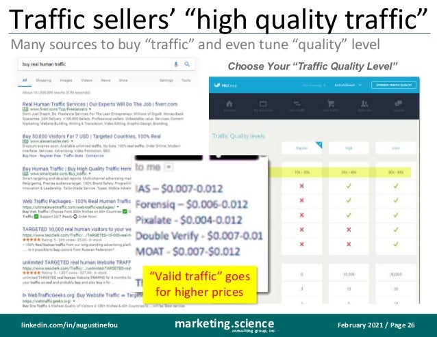 """February 2021 / Page 26 marketing.science consulting group, inc. linkedin.com/in/augustinefou Traffic sellers' """"high quali..."""