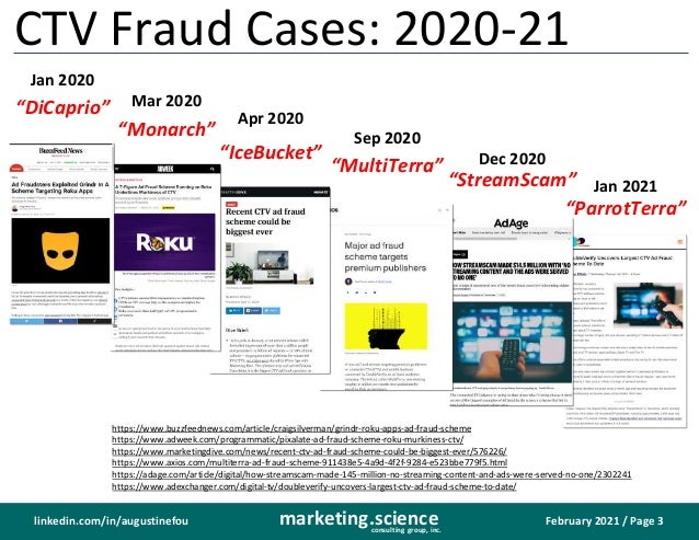 February 2021 / Page 3 marketing.science consulting group, inc. linkedin.com/in/augustinefou streamscam ctv fraud monarch ...