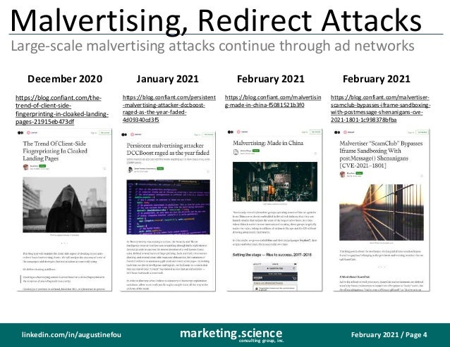 February 2021 / Page 4 marketing.science consulting group, inc. linkedin.com/in/augustinefou Malvertising, Redirect Attack...