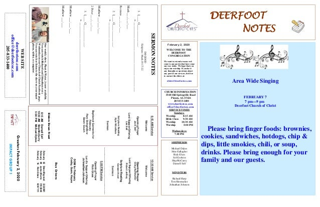 DEERFOOTDEERFOOTDEERFOOTDEERFOOT NOTESNOTESNOTESNOTES February 2, 2020 GreetersFebruary2,2020 IMPACTGROUP1 WELCOME TO THE ...