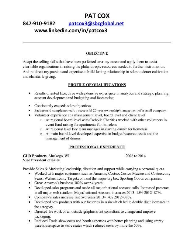 Patrick Cox Nonprofit Resume. PAT COX 847 910 9182 Patcox3@sbcglobal.net  Www.linkedin.  Non Profit Resumes